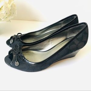 Coach Black Peep-toe Wedges with Bow